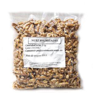 Paquete al vacío de 1 kg deNuez de california 85% mitades
