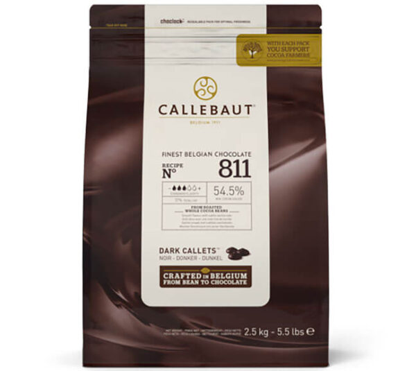 Bolsa de 2,5Kg de la coberturas de chocolate negro 811 55% de cacao de la marca Callebaut