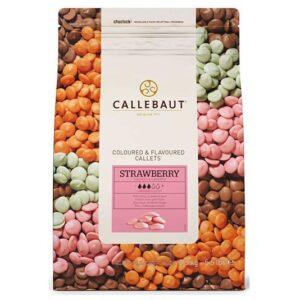 Bolsa de 2,5Kg de chocolate Callebaut de sabor a fresa
