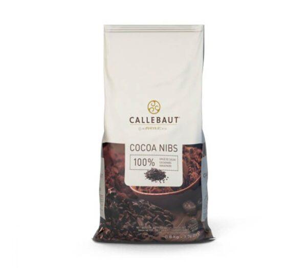 paquete de 800g de nibs de cacao puro de la marca callebaut