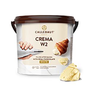 Bote de 5Kg de crema de chocolate blanco de la marca Callebaut
