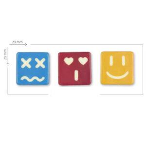 Emoticonos de chocolate blanco en tres colores