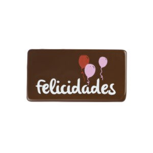 Cartel felicidades con chocolate con globos