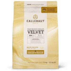 Cobertura de chocolate blanco Velvet de Callebaut en bolsa de 2,5Kg